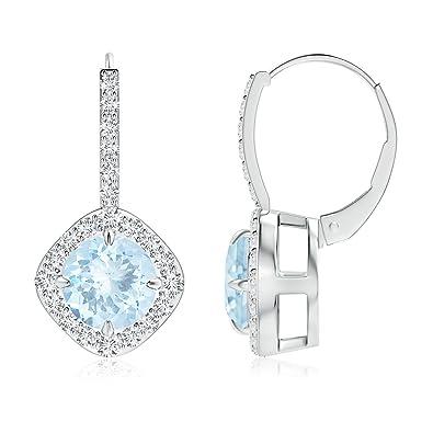 Angara Claw-Set Morganite and Diamond Leverback Halo Earrings 4dDxtl