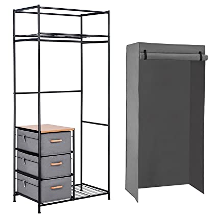 SONGMICS Portable Closet Organizer, Wardrobe Closet Shelves With Hanging  Bar And 3 Fabric Drawers With
