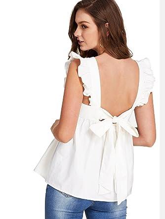 46232faa815dd Romwe Women s Bow Tie Backless Ruffle Hem Peplum Babydoll Blouse Top White  X-Small