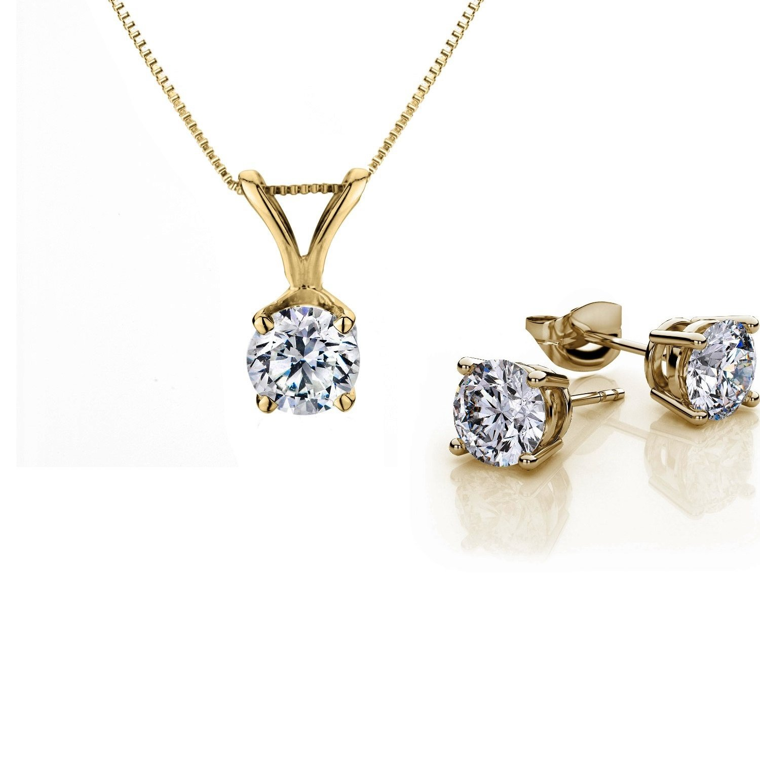 Genuine 1 Carat Natural Solitaire Round Cut Diamond 4 Prong Necklace & Studs Earring Set in 14k Yellow Gold