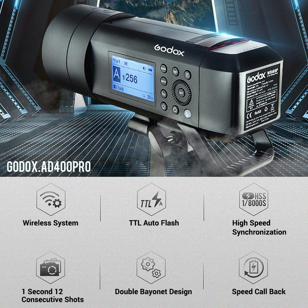 Godox AD400 Pro AD400Pro 400ws GN72 TTL Battery-Powered Monolight, 1/8000 HSS Outdoor Flash Strobe Light, Built-in Godox 2.4G System, 390 Full Power Pops, 0.01-1s Recycle Time, 30w LED Modeling Lamp by Godox (Image #2)