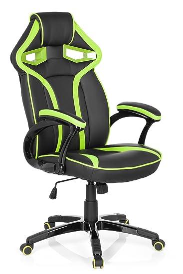 hjh OFFICE 722210 Silla Gaming Guardian Piel sintética Negro/Verde ...