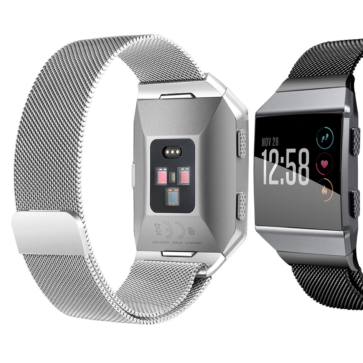 bayite For Fitbit Ionic Bands, Stainless Steel Milanese Loop Metal Replacement Strap with Unique Magnet Lock Accessories for Fitbit Ionic Small Silver + Black by bayite (Image #2)