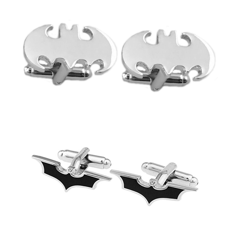 DC Comics 2 Pairs Batman Silver Cutout & Batman Silver Black Cutout Superhero 2018 Movie Logos - Wedding Groom Groomsmen Mens Boys Cufflinks