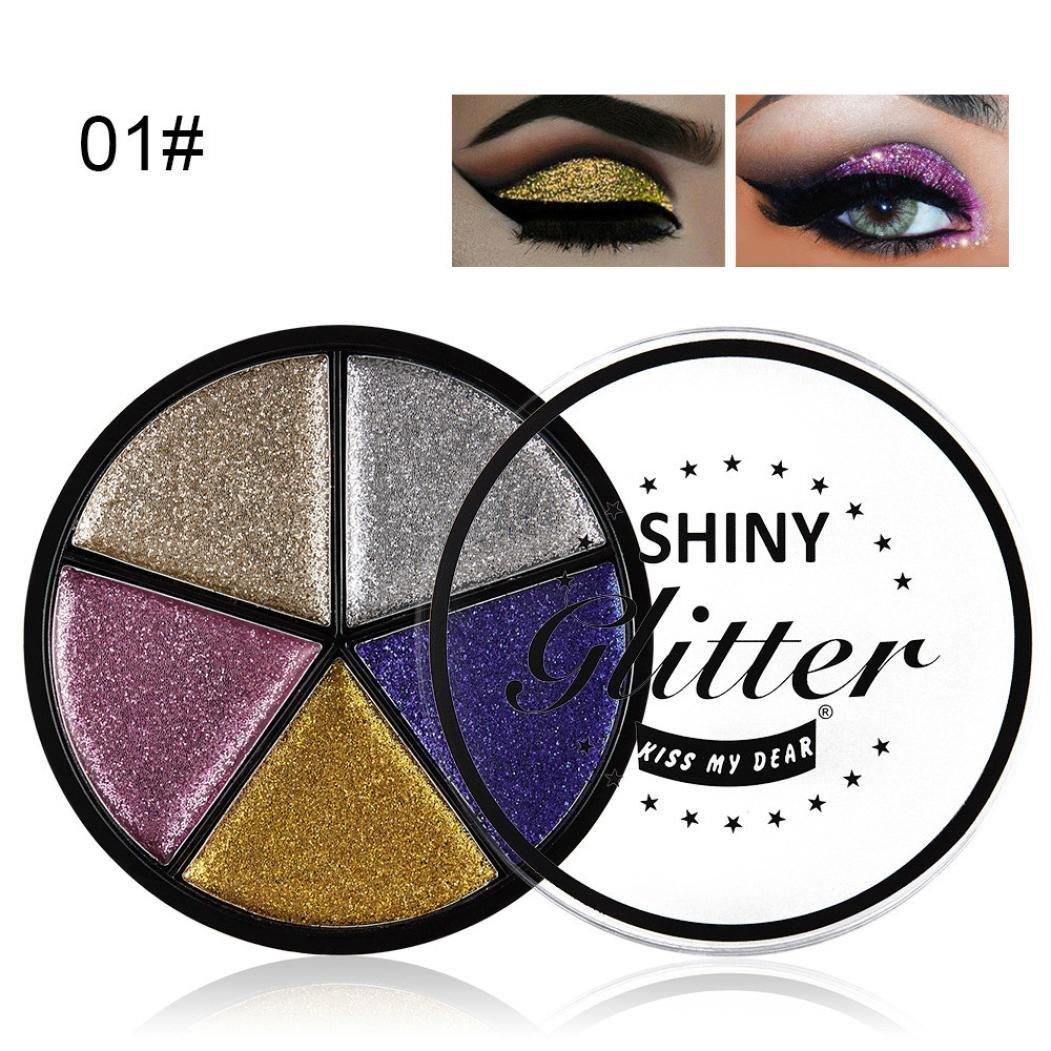 SMILEQ 5 Color Glitter Eyeshadow Cream Makeup Waterproof Brighten Eye Shadow Cosmetic