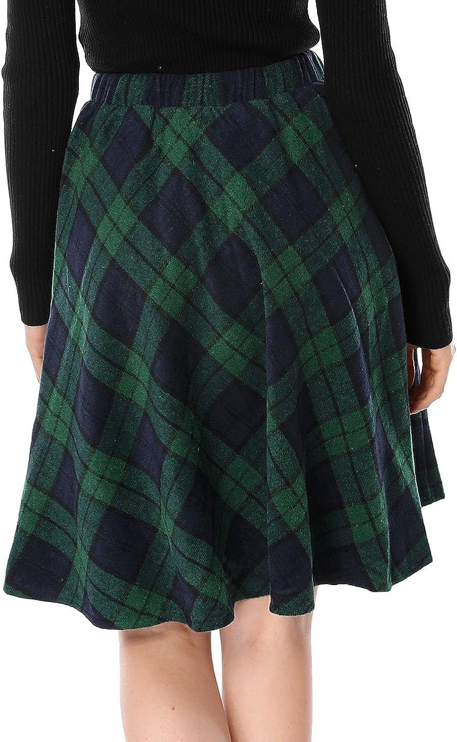 Allegra K Womens Plaids Elastic Waist Knee Length a Line Skirt