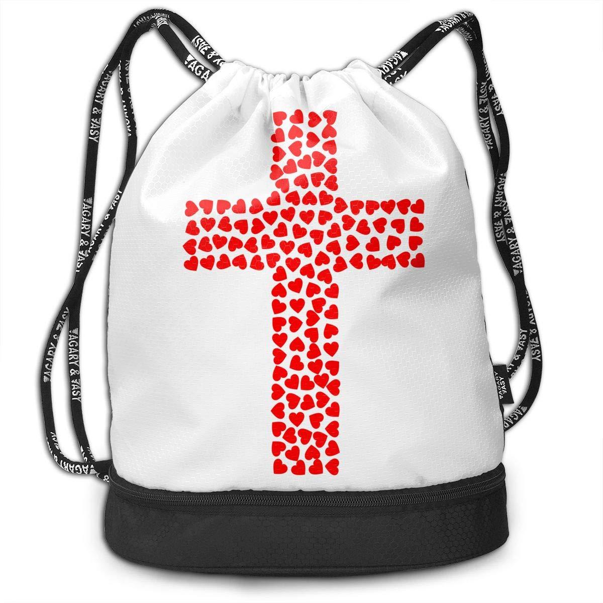 HUOPR5Q Catholic Drawstring Backpack Sport Gym Sack Shoulder Bulk Bag Dance Bag for School Travel