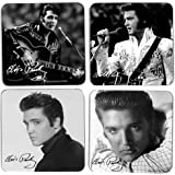 (Set/4) Charming Vintage Black And White Elvis Presley Portraits Coasters