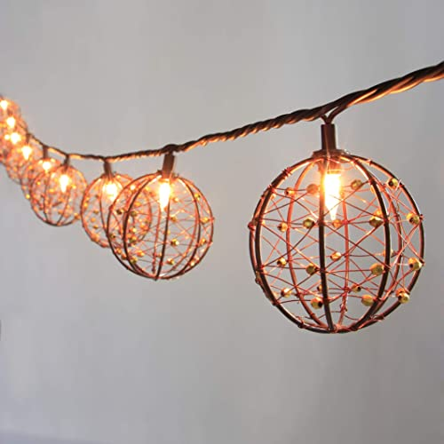 ZHONGXIN Outdoor Patio String Lights, 10 Mini Bulbs with Beaded Copper Wire Ball Style, UL Listed Connectable Weather-Resistant Indoor Outdoor Decor Light for Home Pergola Garden Party Backyard