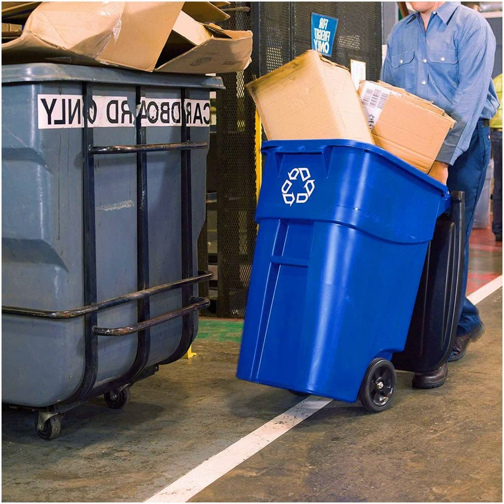 Recycling Bin for Outside Mobile Trash Can with Wheels and Lid 50 Gal Caster Cart Office Business Heavy Duty Tall Garbage Container Ergonomic Handle Square Large Rolling Blue /& eBook BADA Shop