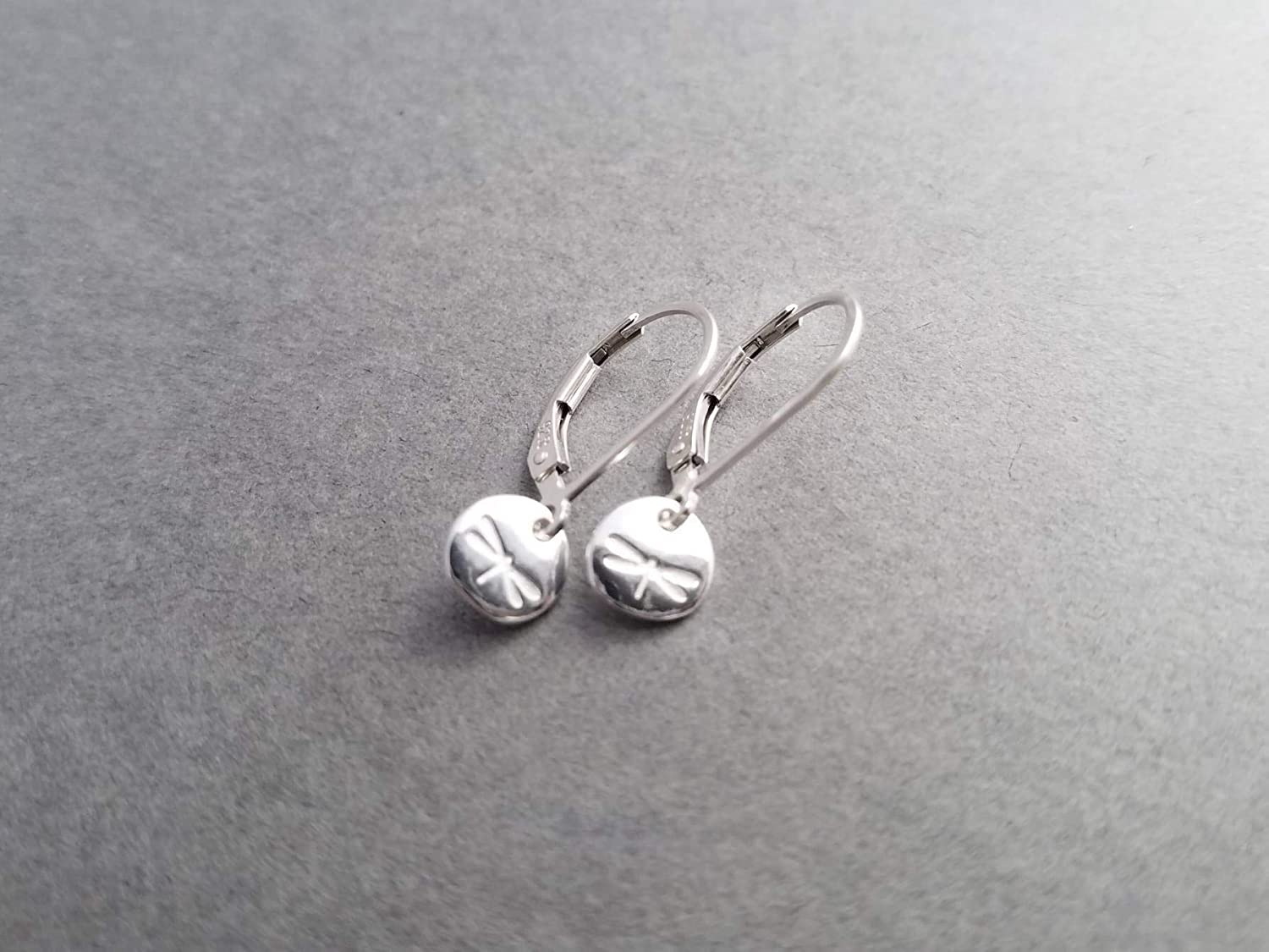 Tiny Sterling Silver Dragonfly Earrings