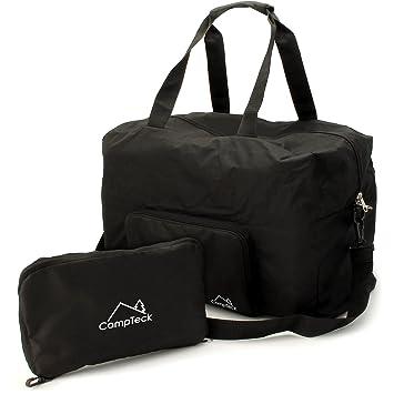 WANDF T302 Sac à bandoulière de voyage pliable Sac de sport Gym Nylon résistant à l'eau, Noir