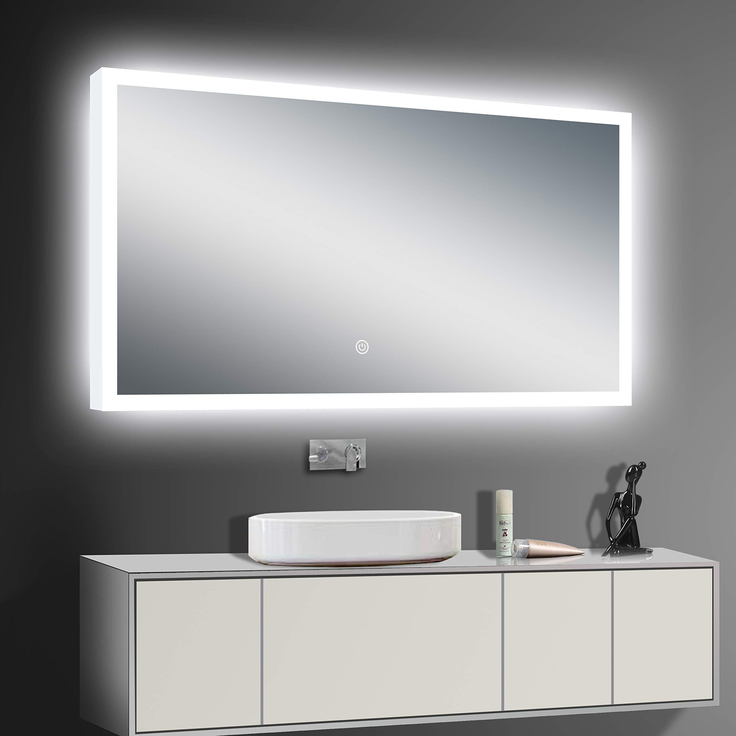 LED Backlit Illuminated Mirror 60''. Wall Mounted for Bathroom, Makeup. Hardwired and Easy to Install. Bright White Light 20w Behind Rectangular Inset Frosted Glass for Flattering Glow by Renewal