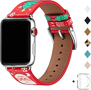 Bestig Band Compatible for Apple Watch 42mm 44mm, Genuine Leather Replacement Strap for iWatch Series 5/4/3/2/1, Sports & Edition(RedChristmas Band+Silver Adapter,42mm 44mm)