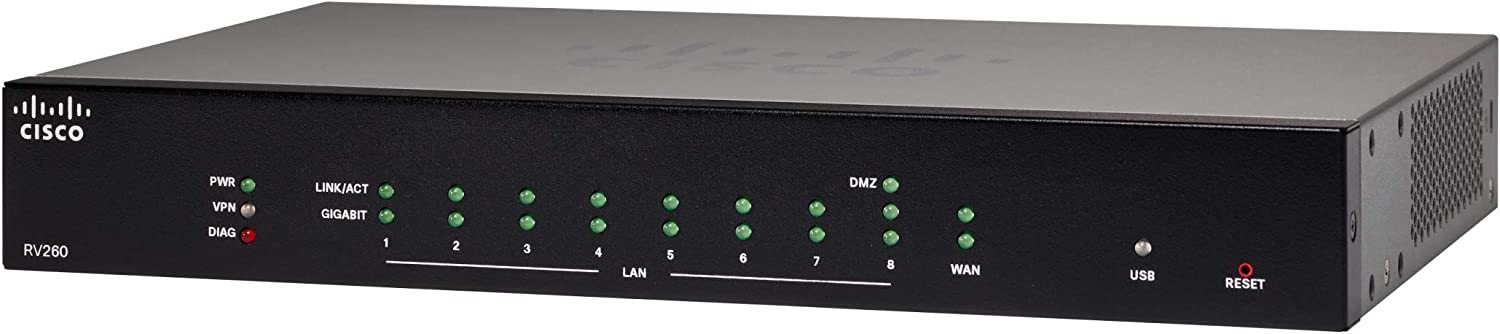 Cisco RV260 VPN Router with 8 Gigabit Ethernet (GbE) Ports, Limited Lifetime Protection(RV260-K9-NA)