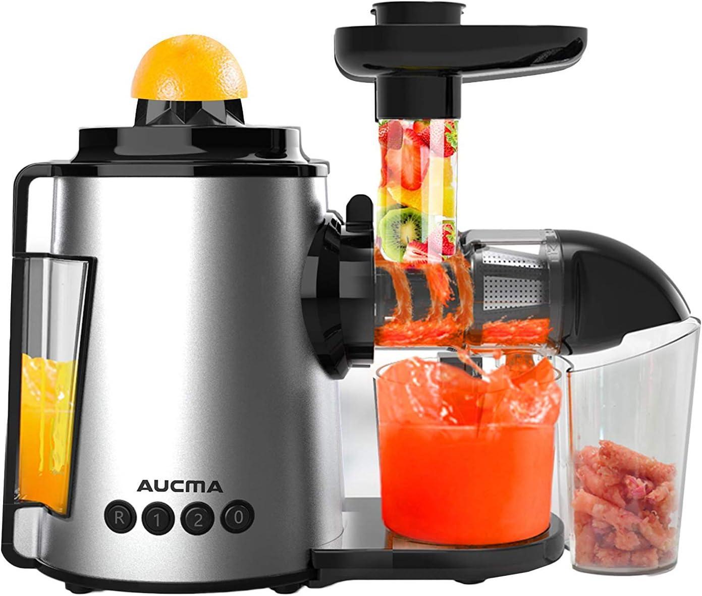 Licuadora Prensado en Frio, AUCMA Licuadora Frutas Verduras, Extractor de zumos con Función inversa, Motor Silencioso, Limpieza Fácil con Cepillo, Alto en Nutrientes para Zumo de Frutas y Verduras