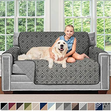 Sofa Shield Original Patent Pending Reversible Loveseat Slipcover, Dogs, 2  Strap/Hook, Seat Width Up to 54  Washable Furniture Protector, Couch Slip Cover for Pets (Love Seat: Diamond/Charcoal)