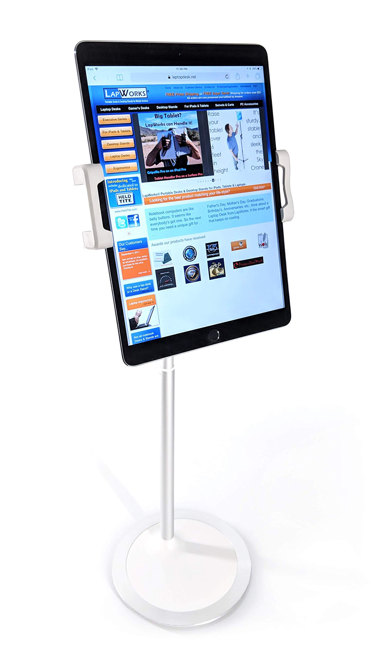 LapWorks Gaze Eye-Level Table Stand for iPads & Tablets - Adjustable Height Stand fits All iPads and Most Tablets and Phones