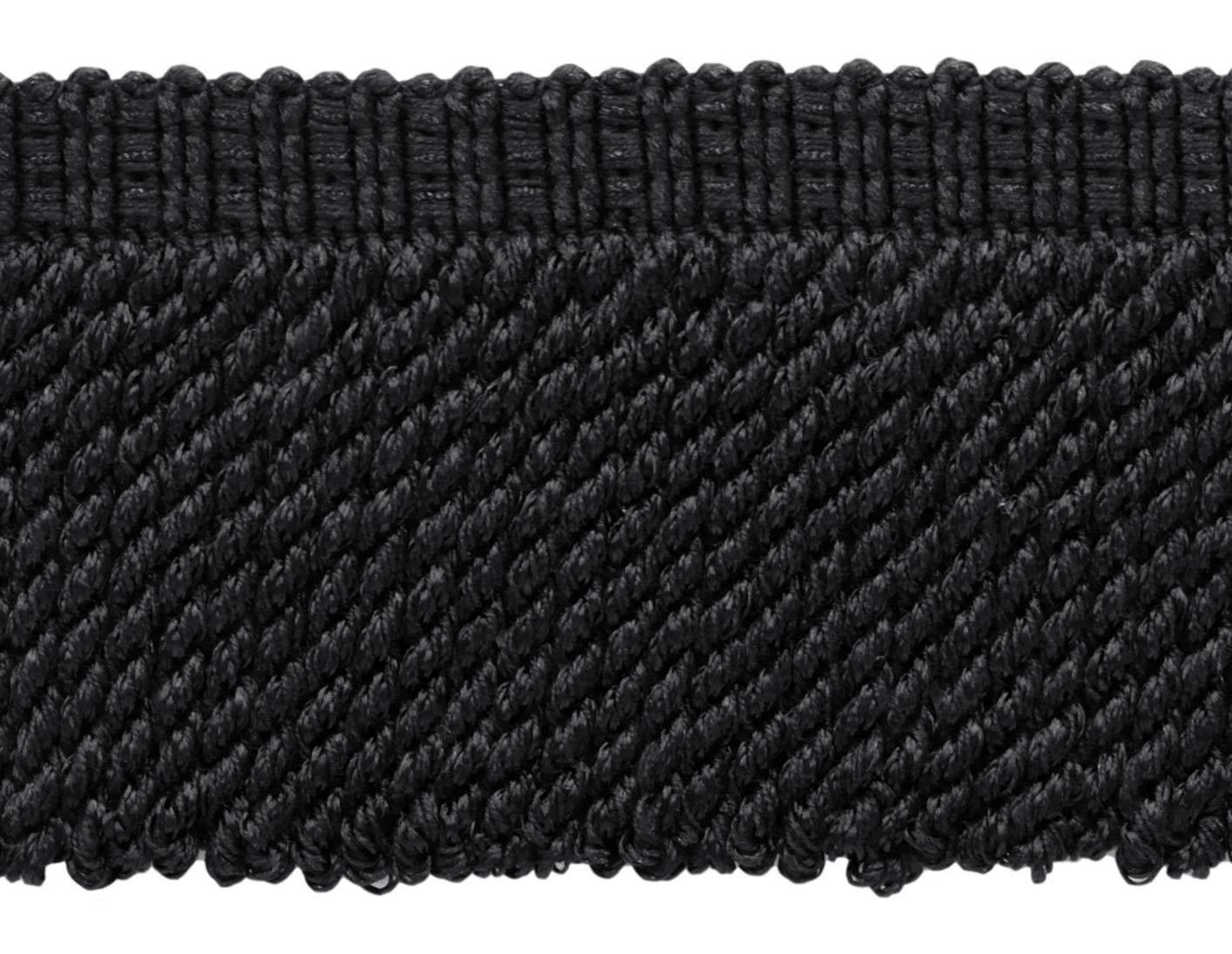 Black 3 Decorative Bullion Fringe Sold by The Yard Style#: BFV3 Color: VNT30 7.5cm Black Charcoal