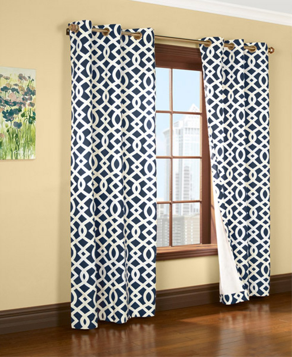 Navy blue patterned curtains - Amazon Com Trellis Thermalogic Navy 80 X 84 Grommet Top Curtains Home Kitchen