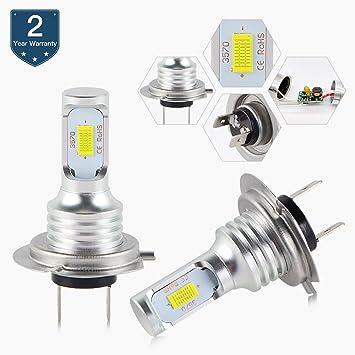 H2Racing Bombillas H7 LED de Moto,3000LM/Pair 6500K Blanco Frío Luz Antiniebla de
