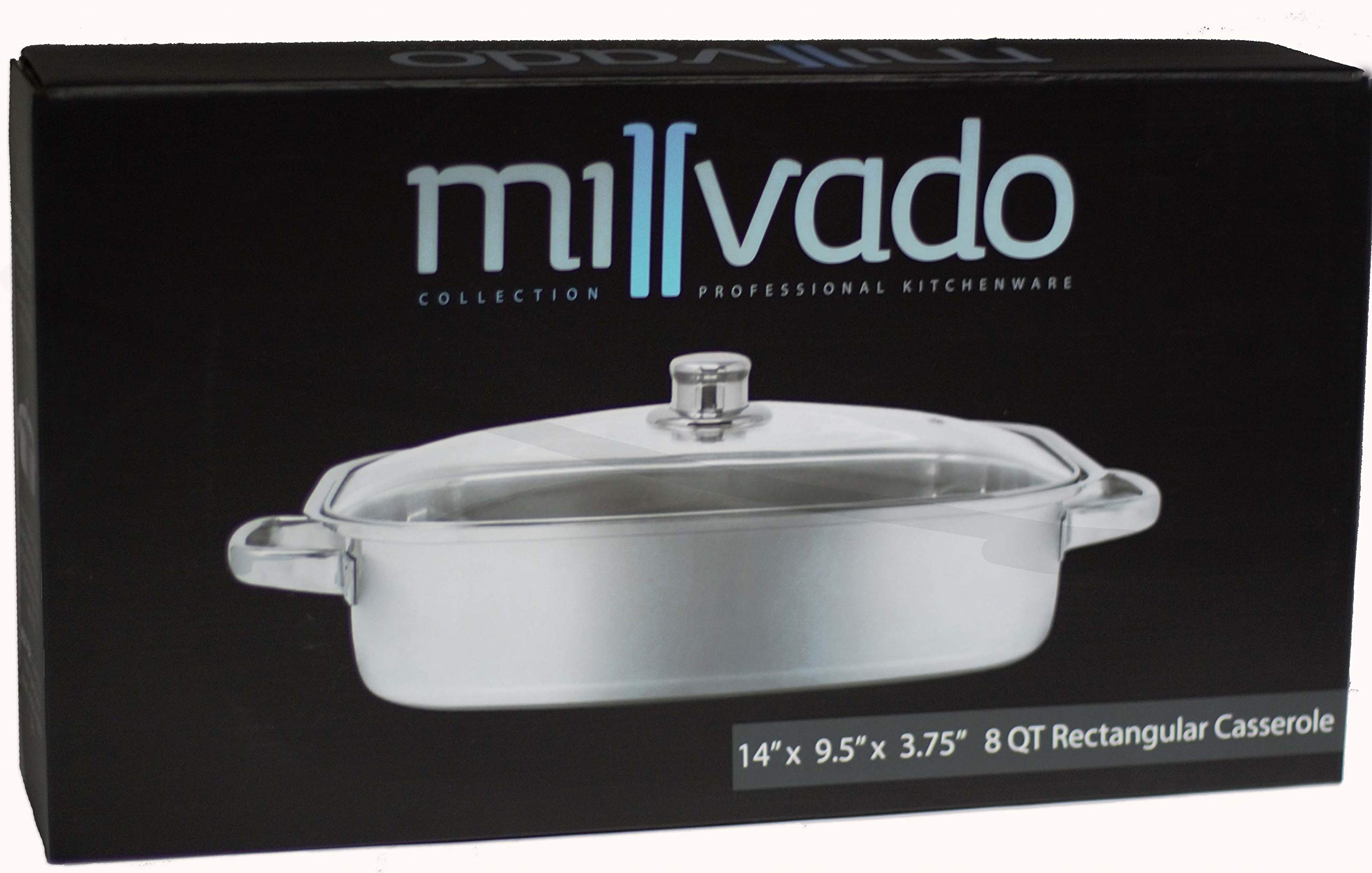 Millvado Stainless Steel Rectangular Casserole | Tempered Glass Lid with Steam Vent, Mirror Finish, Works with Induction Cooktops, Dishwasher Safe, 8 Quart- 14 Inches X 9.5 Inches