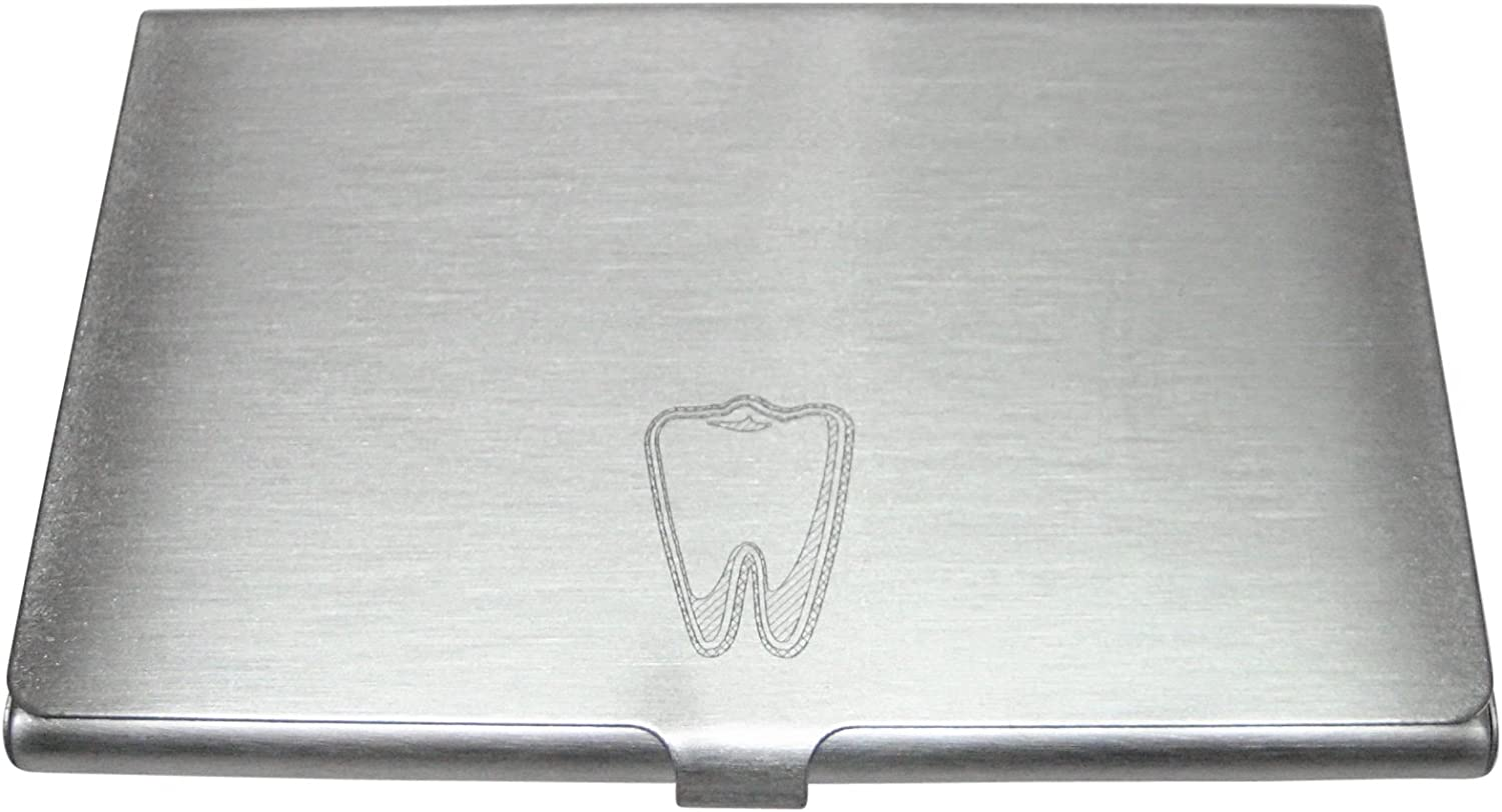 Silver Toned Etched Dentist Tooth Business Card Holder