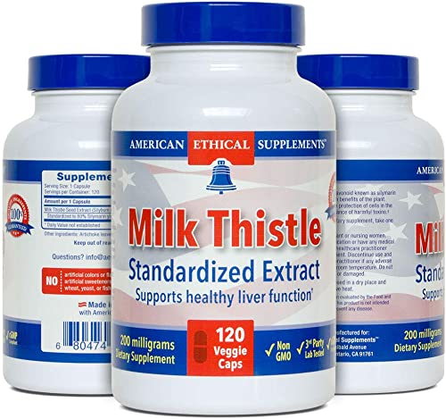 Milk Thistle – Standardized Extract 80 Silymarin yielding 160 mg – 120 Veggie Caps Liver Health Detox. Enhanced with Artichoke Leaves for Liver Regeneration