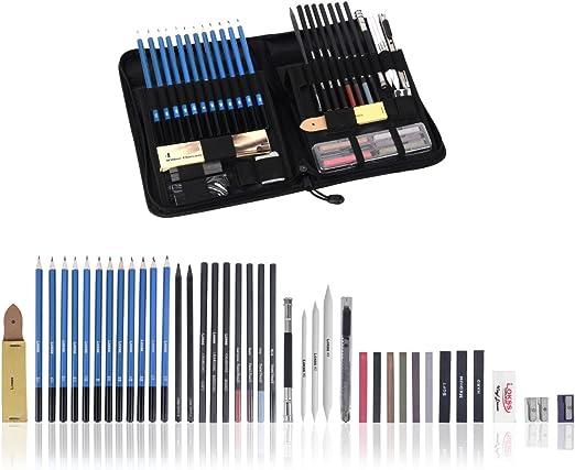 LOKSS 49 accesorios de dibujo profesional, en estuche, completo con estuche de cremallera portátil, lápices de grafito y de carbón, pastel, herramientas y accesorios de arte: Amazon.es: Hogar
