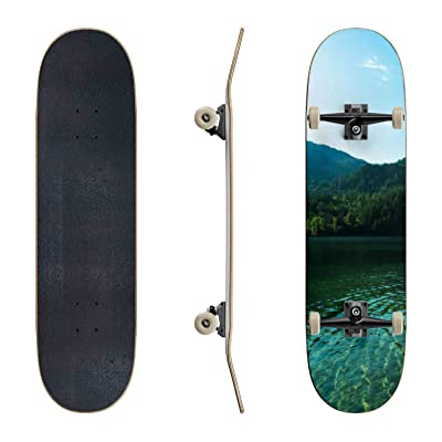 EFTOWEL Skateboards Lake of The Woods in The Canadian Rocky Mountains of British Columbia Classic Concave Skateboard Cool Stuff Teen Gifts Longboard Extreme Sports for Beginners and Professionals : Sports & Outdoors
