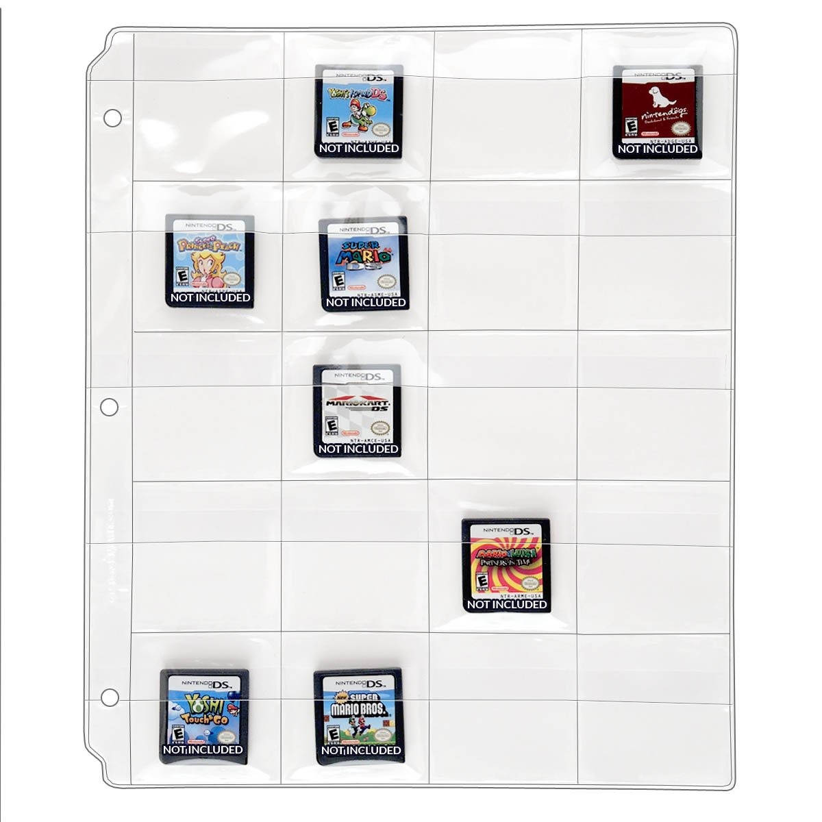 StoreSMART - 20 Pocket 3-Ring Binder Pages with Flaps - for Video Game Cards/Cartridges - 100-Pack - VH1173F-GAME-100