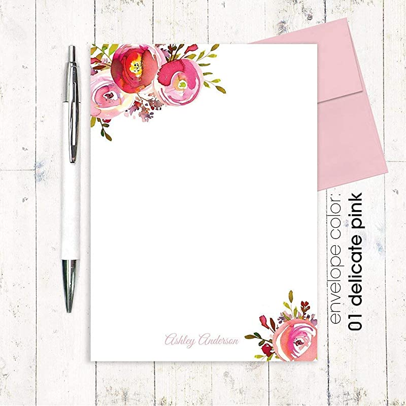 Stationery  Stationary 5x7 or 8x10 Notepad AMELIA FLORALS I Personalized Notepad wedding watercolor floral pink roses peonies note