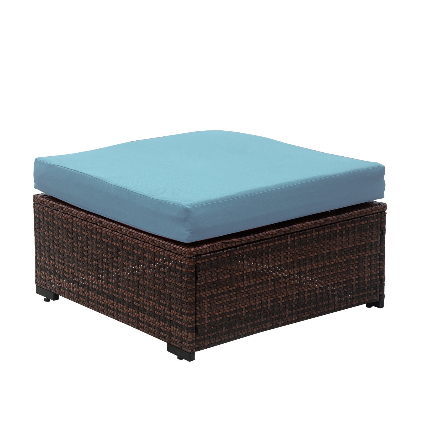 Auro Outdoor Wicker Ottoman Seat with Water Resistant Blue Olefin Cushion   All Weather Patio Foot Rest Stool Coffee Table   Porch, Backyard, Pool