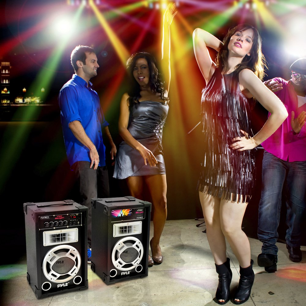 Pyle PSUFM625 Disco Jam 600 Watt 2-Way PA Speaker System, SD Card Reader, FM Radio, AUX/MP3 Input, USB Charging by Pyle