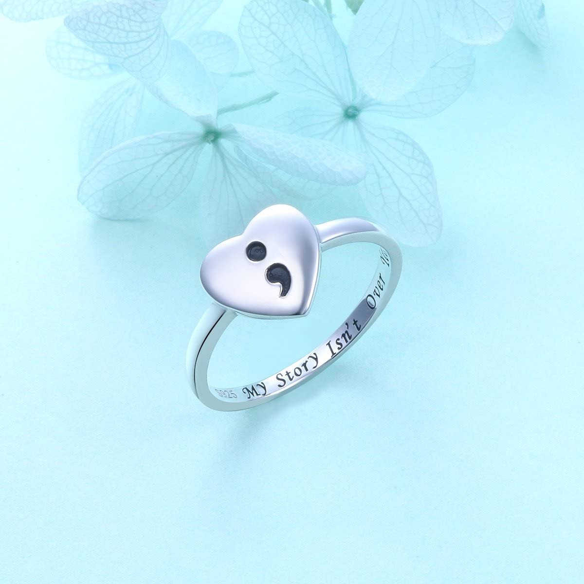 DAOCHONG S925 Sterling Silver My Story Isnt Over Yet Unadjustable Heart Semicolon Ring This Too Shall Pass Semicolon Ring