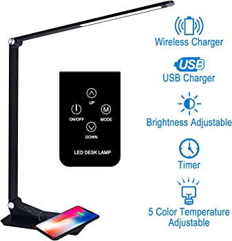 Autopdr 1-2 Hour USB Charging Port and Wireless Charging LED Table Lamp