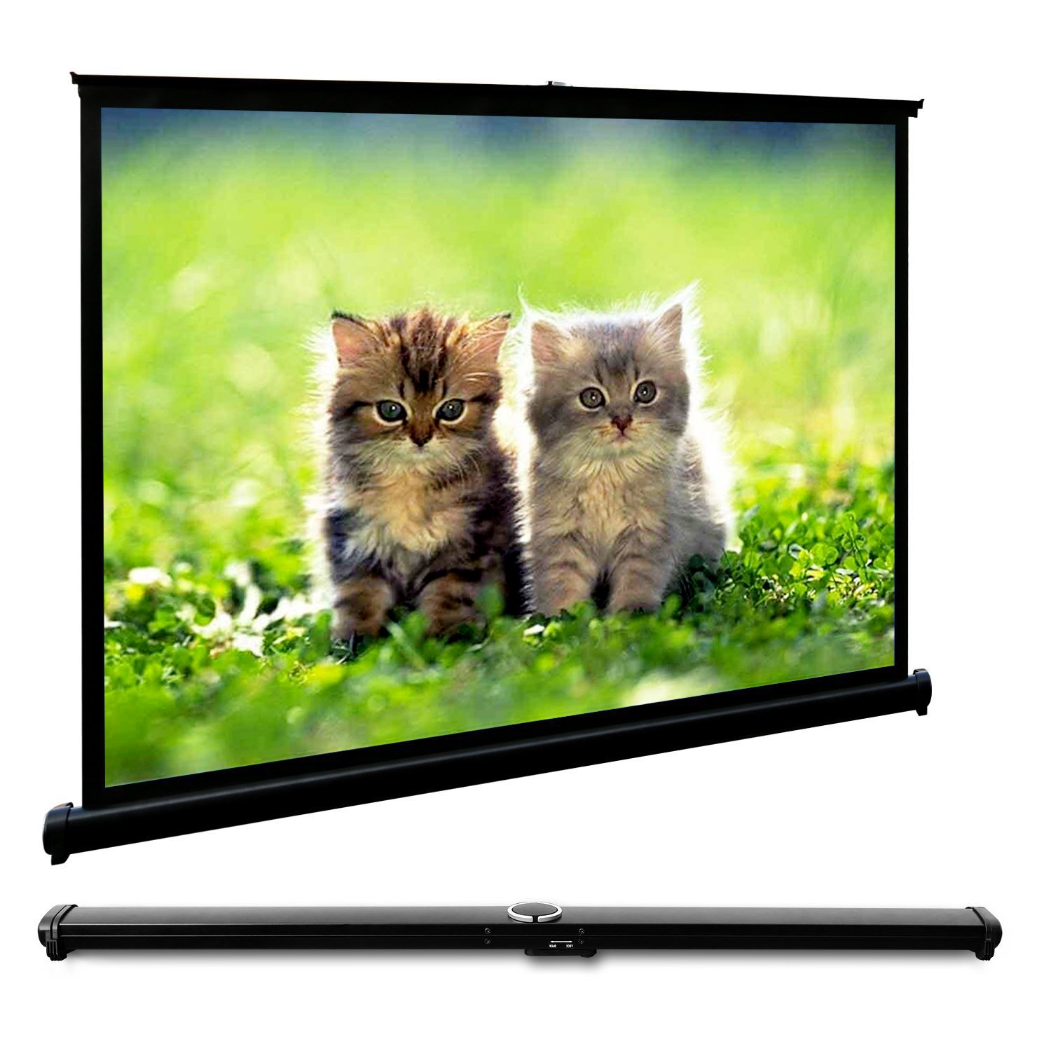 EZAPOR Mini Table Screen Outdoor Business Portable Movie Screens 50 Inch 4:3 Home Cinema Projector Screen with PVC Fabric Matte White