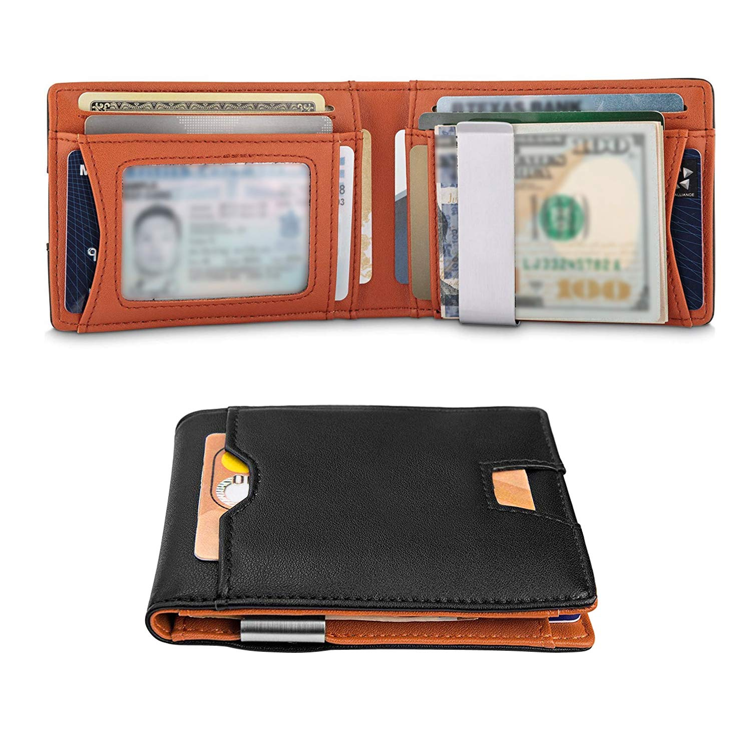 c4e90804e5f0 Slim Pocket Wallet with Money Clip RFID Blocking Bifold Genuine Leather Man Pocket  Wallet Minimalist Wallets for Men at Amazon Men's Clothing store: