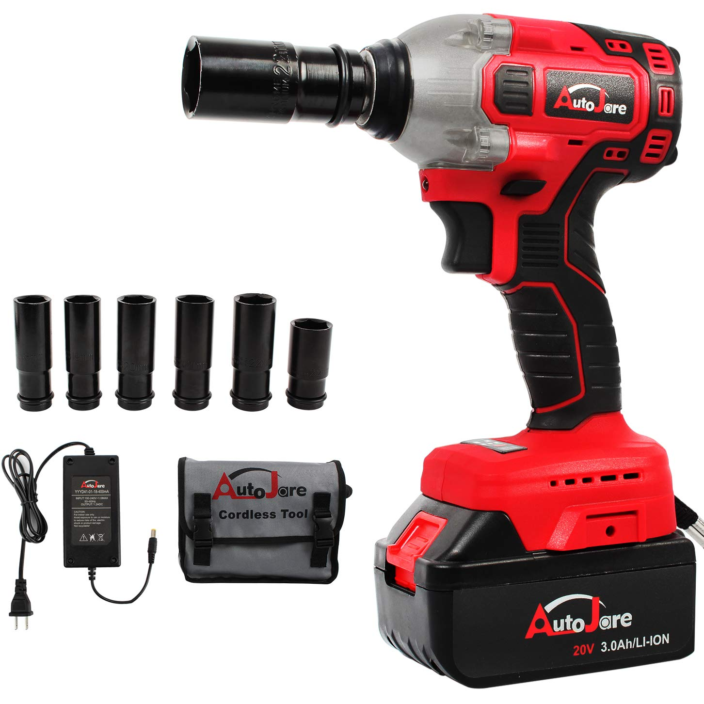 1 2 Cordless Impact >> Autojare Cordless Impact Wrench Kit Brushless 20v Max Lithium Ion 1 2 Inch Cordless Wrench Kit
