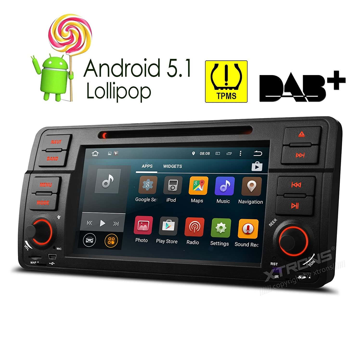 "Amazon.com: XTRONS Quad Core 7"" Android 5.1 Lollipop Car Stereo Multi-touch  Screen Radio CD DVD Player GPS 1080P Video Screen Mirroring OBD2 Wifi  CANbus ..."