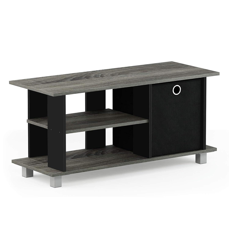 Furinno 13239GYW/BK Simplistic Entertainment TV Stand with Storage Bin French Oak Grey/Black