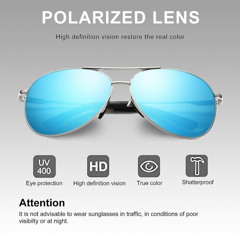 WHCREAT Classique Unisexe Lunettes De Soleil Polarisées avec Ultra-Léger  Réglable Métal Cadre HD Lentille pour Homme et Femme - Argent Cadre Glace  Bleu ... 53a1eb055ae8