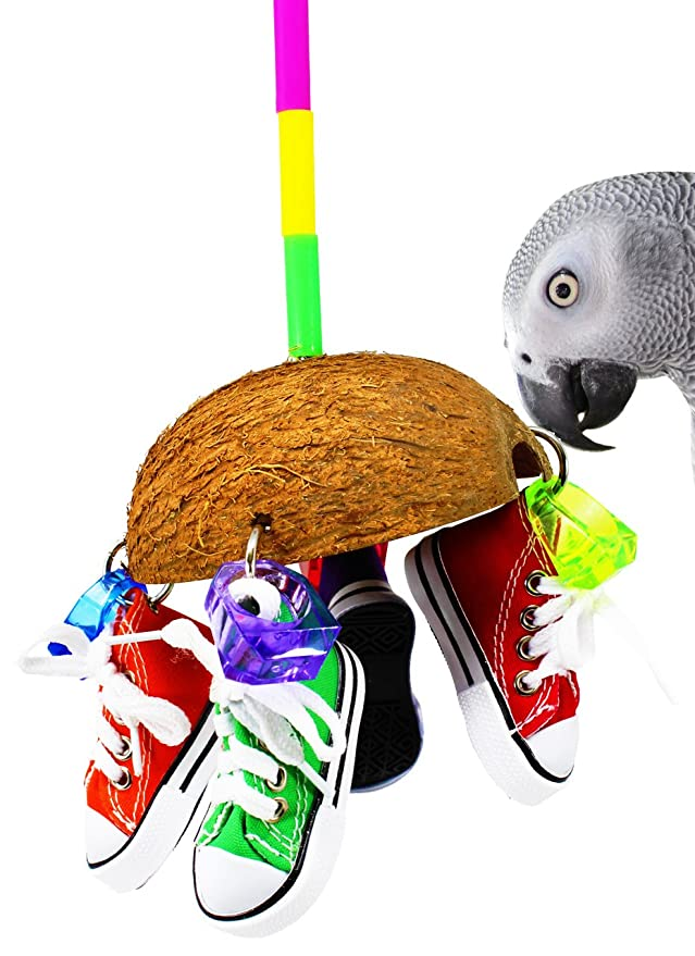Bonka Bird Toys 1504 Coco Sneaker Bird Toy Parrot Cage Toys Cages African Grey Cockatoo Macaw Conure