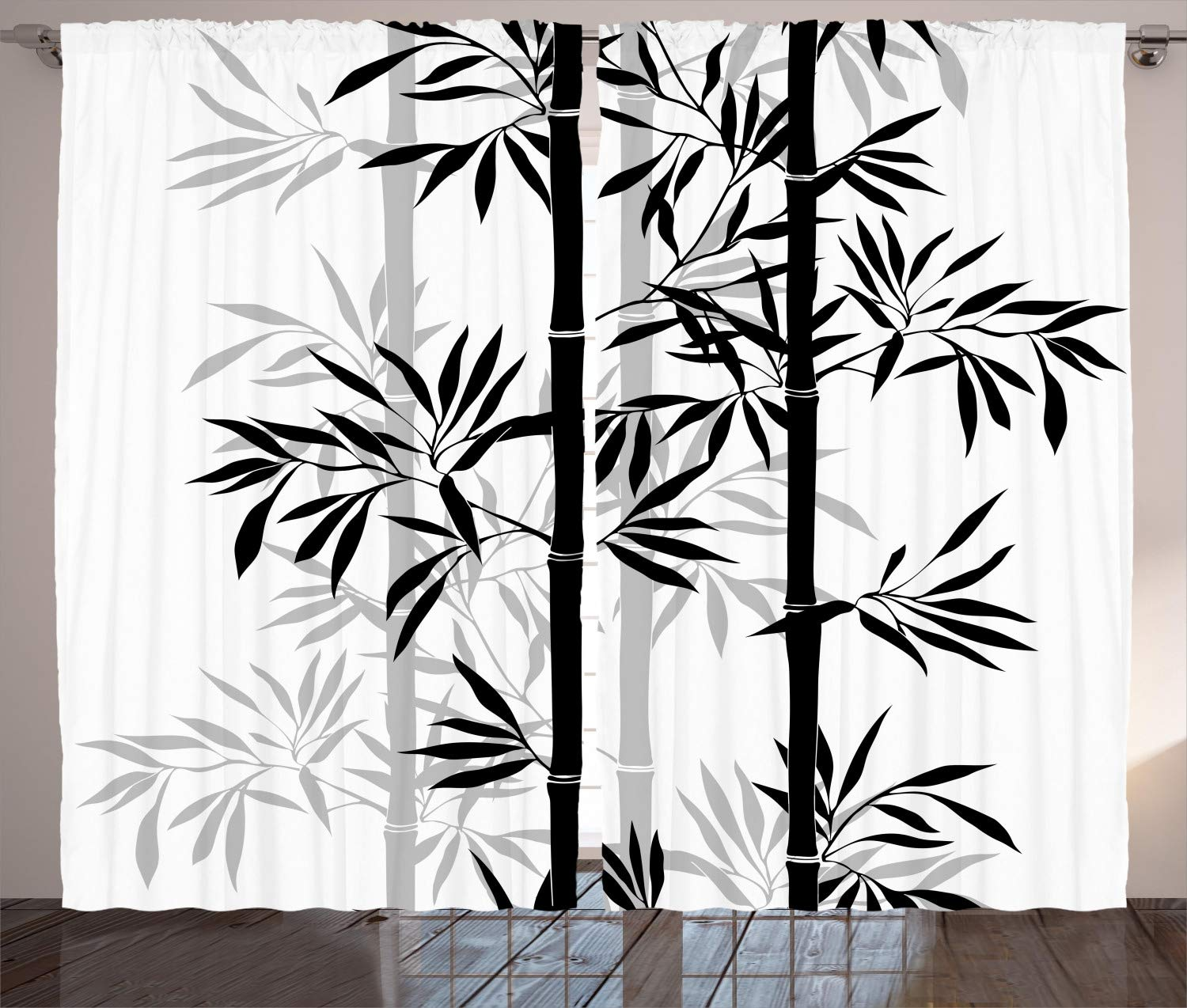 "Ambesonne Tree of Life Curtains, Silhouette of Bamboo Tree Leaves Japanese Feng Shui Boho Image, Living Room Bedroom Window Drapes 2 Panel Set, 108"" X 84"", White Black"