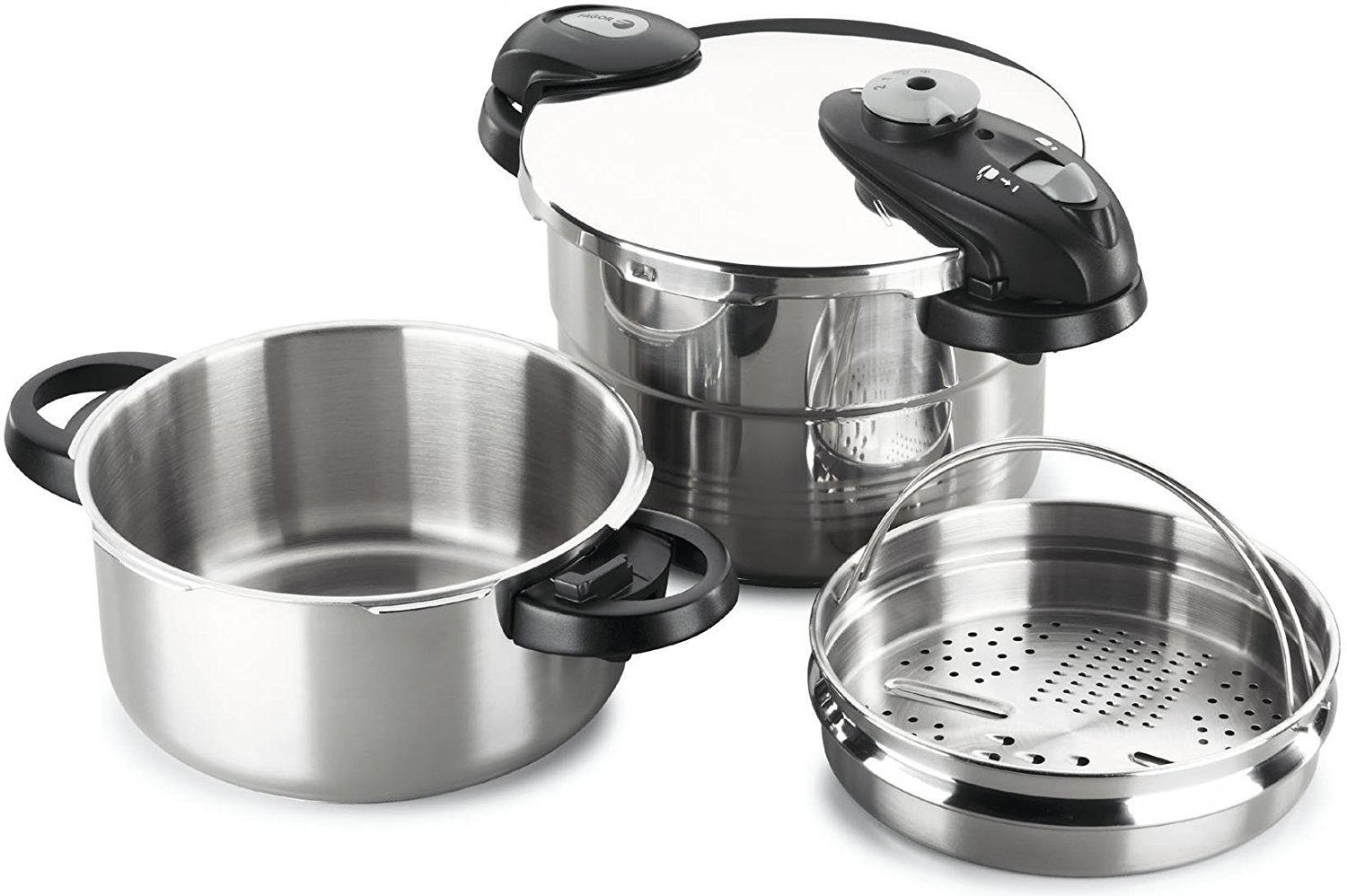 Fagor 918012991 Future IN 4 and 6 liters stainless steel Induction pressure cooker (3in1 sieve insert for steam cooking, as a drainer and a multi-grater, inductive, 22cm) silver
