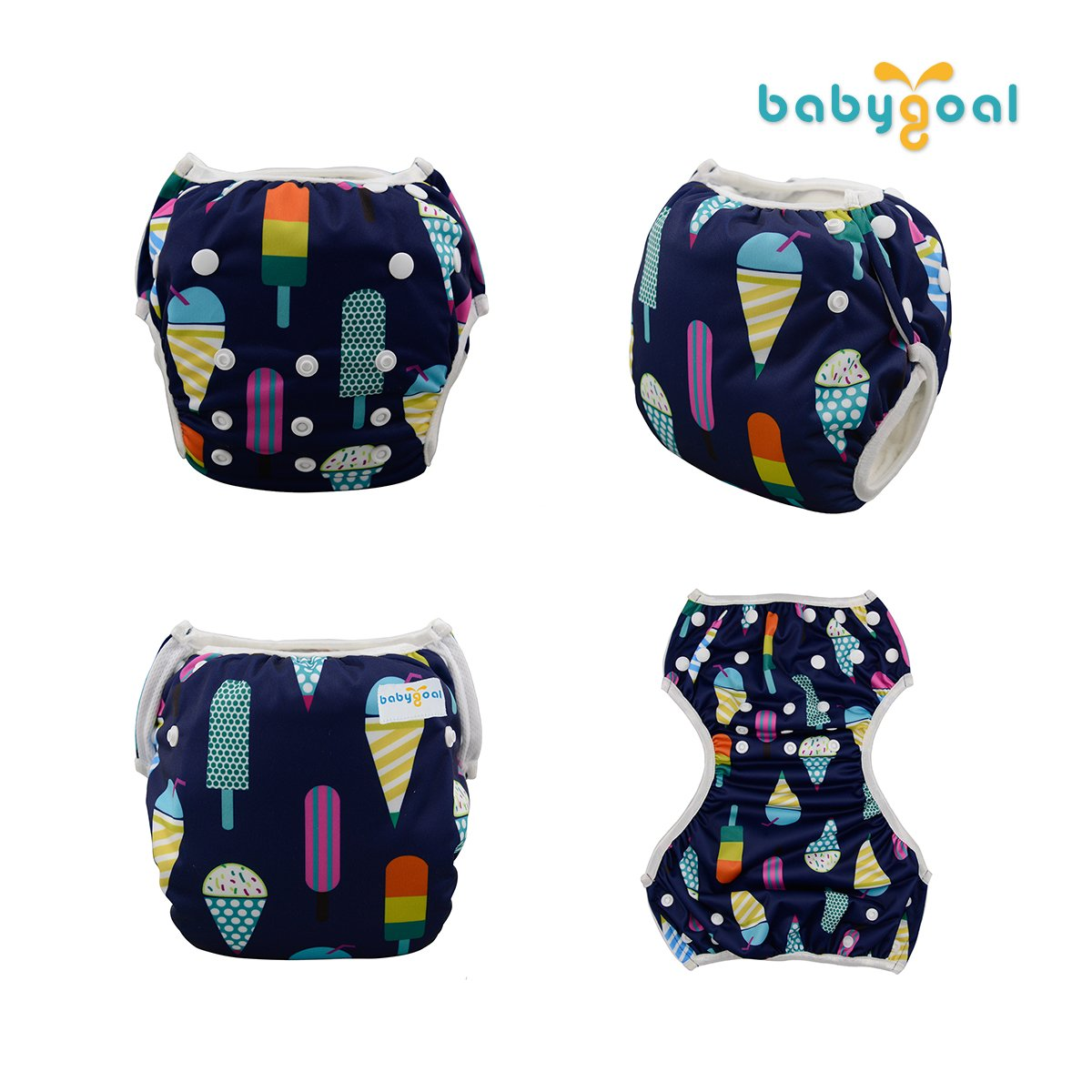 babygoal Reusable Swim Diaper One Size Adjustable and Washable Swim Underwear Fits 0-2 Years and Swimming Lessons 3SD03