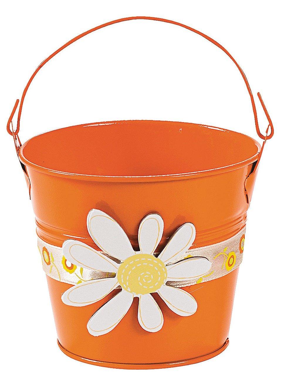 Mini Orange Pails with Handles (12 Pack) Metal. - Party Decorations & Pails & Baskets