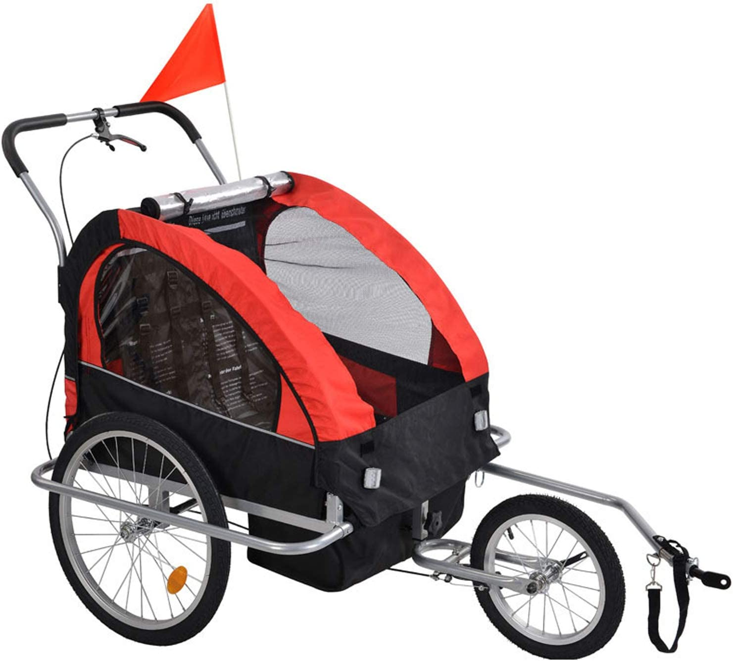 NUEVEN 2-in-1 Double 2 Seat Bicycle Bike Trailer Jogger Stroller with Handle Bar and Wheels Bike Hitch Safety Flag, 20 Inch Wheel Size, Foldable Bike Wagon Trailer