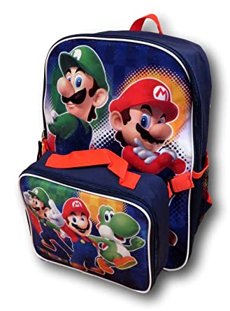 03c20d1a56 Nintendo Super Mario Bros. Backpack with Detachable Insulated Lunch Box   Amazon.co.uk  Clothing