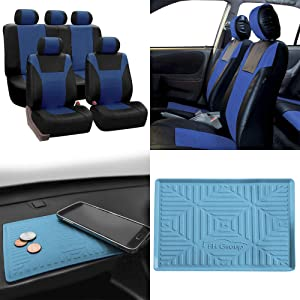 FH Group PU003115 Racing PU Leather Car Full Set Seat Covers, Airbag & Split Ready, Blue/Black Color w. FH3011 Silicone Anti-Slip Dash Mat - Fit Most Car, Truck, SUV, or Van